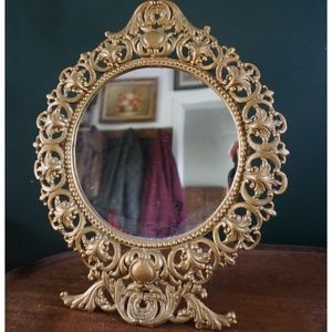 vtg 60s gold filigree ornate vanity mirror